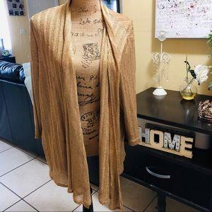 Chico's Gold Metallic Cardigan Kimono Size 3 XL